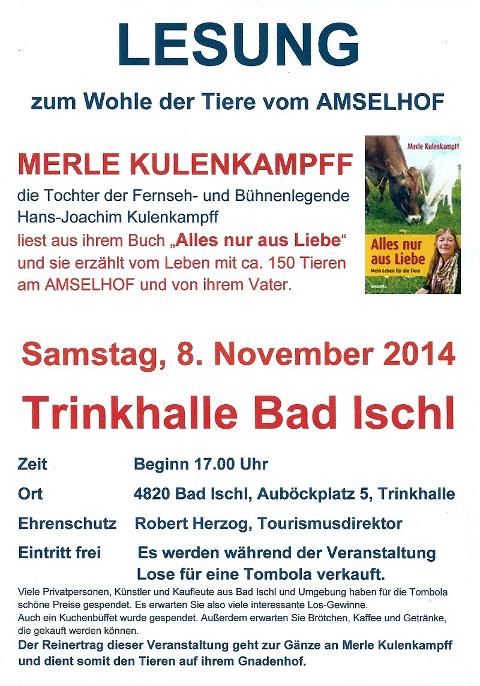 Einladung Lesung Bad Ischl  8 11 2014
